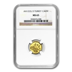 Turkey AH 1/4 Zeri Mahbub Gold Coin NGC MS-65