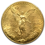 Mexico 1921 50 Pesos Gold Coin - MS-63+ PCGS