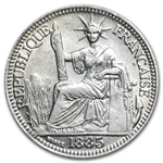 French Indo-China 1885-A Silver 10 Cents VF/EF