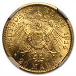 Germany (Prussia) 1914-A Gold 20 Mark NGC MS-65