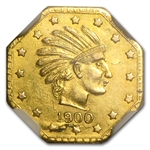 1900 Indian Octagonal Half Pinch Alaska Gold MS-61 NGC