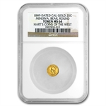 1849 Minerva Round Quarter Dollar Gold MS-64 NGC