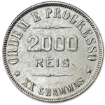 Brazil 1906 Silver 2000 Reis XF or Better Liberty Cap