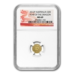 2012 1/20 oz Gold Lunar Year of the Dragon (SII) NGC MS-69
