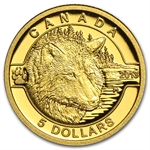 2013 1/10 oz Gold Canadian $5 - The Wolf