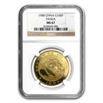 1988 1 oz Gold Chinese Panda MS-67 NGC