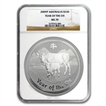 2009 1 kilo (32.15 oz) Silver Year of the Ox Coin (SII) MS-70 NGC