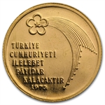 Turkey 1973 Gold 500 Lira BU Anniversary of Republic