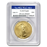 2006-W 1 oz Gold American Eagle MS-69 PCGS - West Point Label