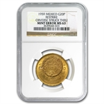 Mexico 1959 20 Pesos Gold MS-63 NGC (Struck Thru) AGW .4823