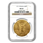Mexico 1931 50 Peso Gold Coin MS-64 NGC