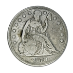 1870-CC Liberty Seated Dollar - Very Good