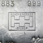 100 oz Handy & Harmon Silver Bar .999 Fine
