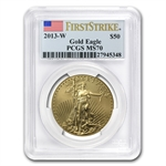2013-W 1 oz Burnished Gold Eagle PCGS MS-70 - First Strike