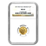 Mexico 1871-Mo M/C 1 Peso Gold NGC MS-64