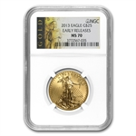 2013 1/2 oz Gold American Eagle MS-70 NGC First Releases