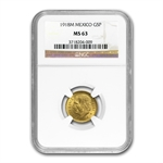 Mexico 1918 5 Pesos Gold Coin - MS-63 NGC