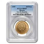 Mexico 1959 20 Pesos Gold Coin - MS-69 PCGS (Restrike)