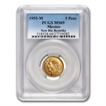 Mexico 1955 5 Pesos Gold Coin - MS-69 PCGS (Restrike)