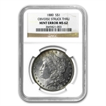 1880 Morgan Dollar - MS-62 NGC - Obverse Struck Thru Mint Error