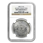 1884-O Morgan Dollar MS-61 NGC Reverse Struck Thru Mint Error
