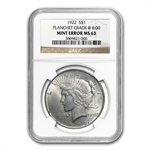 1922 Peace Dollar NGC MS-63 Cracked Planchet Mint Error