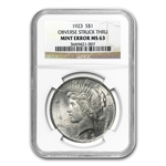 1923 Peace Dollar MS-63 NGC Obverse Struck Thru Mint Error