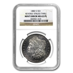 1880-S Morgan Dollar MS-63 PL NGC Reverse Struck Thru Mint Error