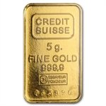 5 gram Credit Suisse Gold Bar .9999 Fine (W/Assay Card)
