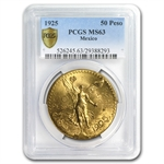 Mexico 1925 50 Peso Gold Coin PCGS MS-63 (Secure Plus!)