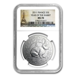 2011 Silver France Year of the Rabbit Coin-Lunar Series-MS-70 NGC