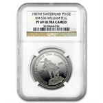 1987 1 oz Swiss Platinum William Tell (PF-69 UCAM NGC)