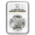 1922-1925 Peace Silver Dollars - MS-62 NGC