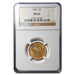 1895 $5 Liberty Gold Half Eagle - MS-64 NGC