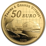 2013 1/4 oz Gold Proof France Trains and Stations- Channel Tunnel
