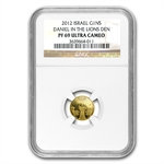 2012 Israel Daniel in the Lion's Den Smallest Gold PF-69 UCAM