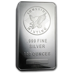 100 oz Sunshine Silver Bar .999 Fine (V2) First - 100 bars ever!
