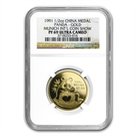 1991 1/2 oz Gold Chinese Panda Munich Coin Fair Medal NGC PF-69