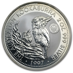 1997 2oz Silver Australian Kookaburra Crown Privy Light Abrasions