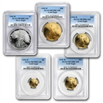 1995-W 5-Coin Proof American Gold & Silver Eagle PCGS PR-70 Set