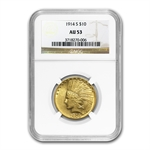 1914-S $10 Indian Gold Eagle - AU-53 NGC