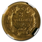 1874 $3 Gold Princess - AU-53 NGC