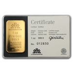 1 oz Heraeus Gold Bar .9999 Fine (Commerzbank)