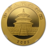 2002 1 oz Gold Chinese Panda MS-70 NGC