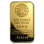 1 oz Engelhard Gold Bar ('E' logo) .9999 Fine