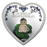 Cook Islands 2013 Proof Silver $2 Birthday Heart - Boy