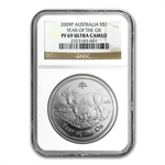 2009 Year of the Ox - 1 oz Proof Silver Coin (SII) NGC PF-69