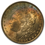 1897 Morgan Dollar - MS-65 PCGS Blue and Pink Toning CAC
