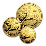 2014 Proof Gold 1.35 oz Year of the Horse 3-Coin Set (SII)