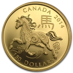 2014 Gold Canadian $150 Lunar Year of the Horse (W/Box & COA)